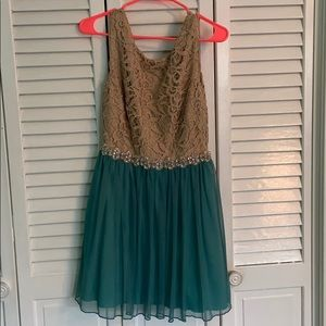 Teal and Tan Homecoming Dress
